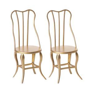 Maileg - 11-8103-00 - Pack de 2 chaises gold Vintage, Micro - Or -  10 cm  (390956)