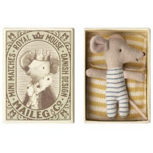 Maileg - 16-8714-01 - Baby mouse, Sleepy/wakey in box - Boy (391930)