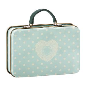 Maileg - 20-7013-00 - Metal Suitcase, Cream, Mint dots - Taille 7 cm (392270)