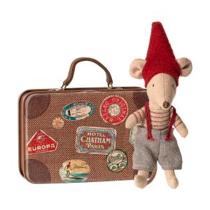 Maileg - 14-9700-01 - Christmas mouse in suitcase, Little brother - Taille : 14 cm (414576)