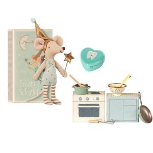 Maileg - BU008 - Poupée Tooth fairy, Big brother mouse with. metal box set and Cooking set (415522)