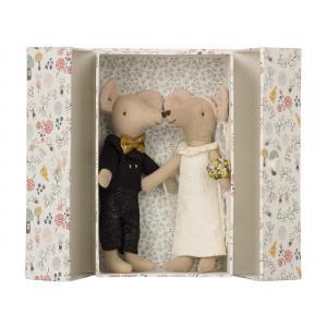 Maileg - BU010 - Poupée couple de souris de mariage en boîte et set de cuisine (415526)