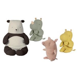Maileg - BU031 - Set de poupées cochon truffe petit, amis safari petit rhinocéros vert, Panda grand, Amis de safari petit hippo jaune - 54 cm (415568)