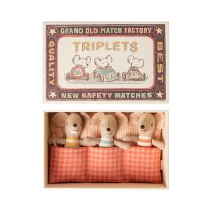 Maileg - 16-0710-01 - Baby mice, Triplets in matchbox  - Taille 8 cm - de 0 à 36 mois (421604)