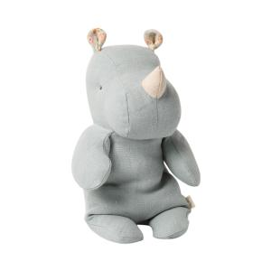 Maileg - 16-0921-02 - Safari friends, Small Rhino - Blue/Grey  - Taille 22 cm - de 0 à 36 mois (421716)