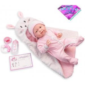 Berenguer - 18789 - Pink Soft Body La Newborn dans Bunny Bunting et accessoires. Corps souple nouveau-né. Costume rose avec couverture. (451888)