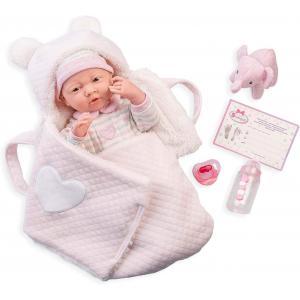 Berenguer - 18791 - Rose Soft Body Le Newborn dans un panier de transport souple et des accessoires. Corps souple nouveau-né. Costume r (451892)