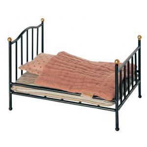 Maileg - 11-0111-01 - Vintage bed, Mouse - Anthracite - Hauteur : 8,5 cm (455102)