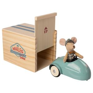 Maileg - 16-0727-00 - Mouse car w. garage - Blue, taille : H : 11,5 cm - L : 11,5 cm - l : 15,5 cm (455338)
