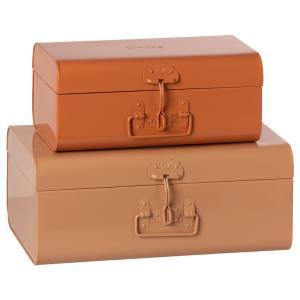 Maileg - 19-1530-01 - Set de 2 valises de rangement - poudre / rose, taille : H : 18 cm - L : 44 cm - l : 27 cm (460900)