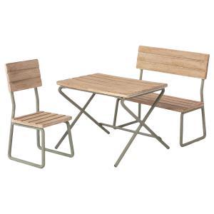 Maileg - 11-1113-00 - Mobilier de jardin miniature, table, chaise & banc - Mini, taille : H : 9 cm - L : 8 cm - l : 12 cm (460924)