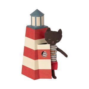 Maileg - 16-1900-00 - Peluche chat sauveteur dans son phare - 23 cm (460932)