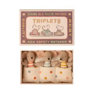 Maileg - 16-1710-01 - Bébés Souris, Les Triplés dans leur boîte à allumettes, taille : H : 8 cm  (460940)