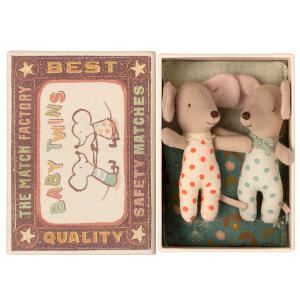 Maileg - 16-1711-01 - Bébés Souris, les jumeaux dans leur boîte à allumettes, taille : H : 8 cm  (461002)