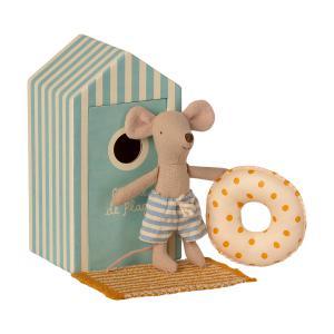 Maileg - 16-1722-01 - Souris de plage, Petit Frère dans la Cabine de Plage, Beach Mice, taille : H : 11 cm  (461006)
