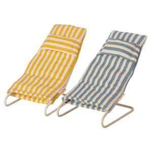 Maileg - 11-1407-00 - Set de chaises longues de plage, pour souris, taille : H : 5 cm - L : 5 cm - l : 10 cm (461060)