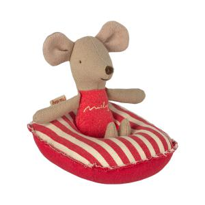 Maileg - 11-1403-01 - Bateau pneumatique pour petite souris - Rayures rouges, taille : H : 3 cm - L : 7 cm - l : 10 cm (461114)