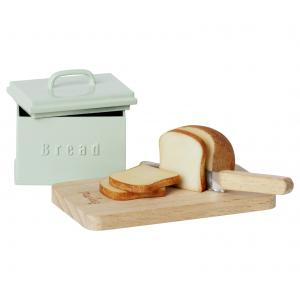Maileg - 11-1308-00 - Boîte à pain miniature w. planche à découper et couteau, taille : H : 4 cm - L : 8 cm - l : 4,5 cm (472000)