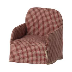 Maileg - 11-1408-01 - Chaise, Souris - Rouge, taille : H : 8 cm - L : 7 cm - l : 6 cm (472004)