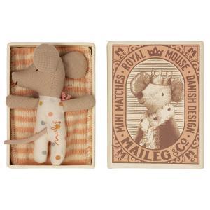 Maileg - 16-1712-01 - Bébé souris, Sleepy/waky dans une boîte d'allumettes - Fille, taille : H : 8 cm  (472128)