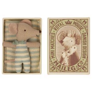 Maileg - 16-1713-01 - Bébé souris, Sleepy/waky in mathcbox - Garçon, taille : H : 8 cm  (472130)